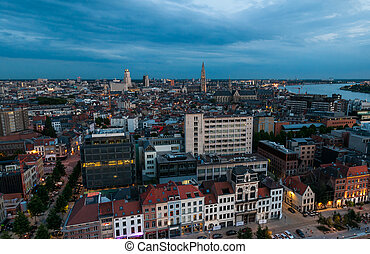 Aerial view to the center of Antwerp from the roof of MAS...