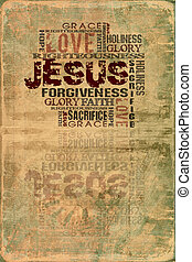 Jesus - Religious Words in grunge style on grunge background...