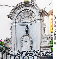 BRUSSELS - July 09: Manneken Pis statue and fountain on July...