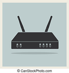 Wi-Fi Router on Retro Background Vector - Wi-Fi Router on...