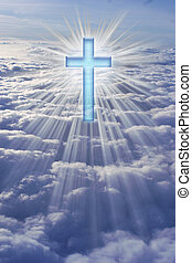 He Has Risen! - A cross in heaven surrounded by rays of...