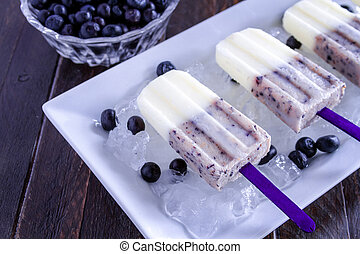 Homemade Vanilla, Blueberry and Coconut Milk Popsicles -...