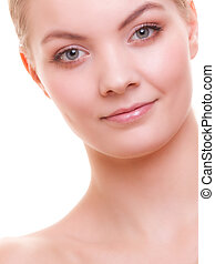 Portrait of beautiful woman blond girl isolated