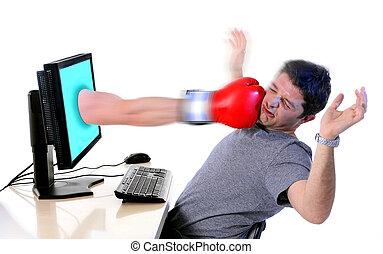 hombre, computadora, golpe, boxeo, guante, social, medios,...