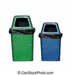 Blue and green dirty garbage bin isolated on white...