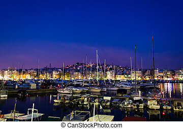 Piraeus Marina port in the night - Piraeus Marina port at...