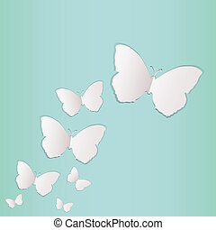 Paper butterflies - Greeting card with paper butterflies...