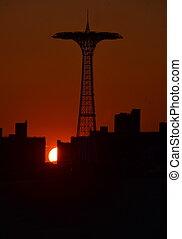 Sunset in Brighton Beach, NYC - Sunset in Brighton Beach of...