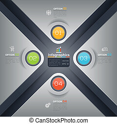Modern business X shape infographics graphic design layout -...