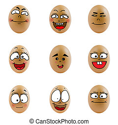 collection of eggs with happy face. Differences faces living...