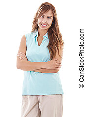 Casual Woman - Stock image of casual woman isolated on white...