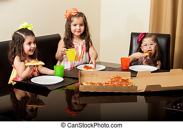 We love pizza! - Portrait of a group of three little friends...