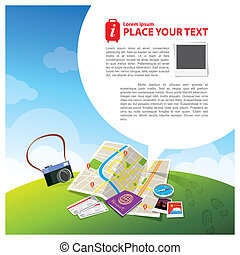 Travel Kits with Speech bubble Illustration - Travel...