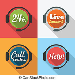Call Center / Customer Service / 24 hours Support Flat Icon...