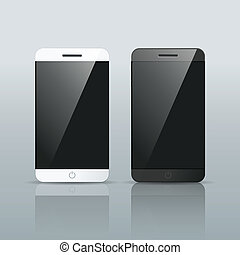 black and white Smart phone Vector isolated