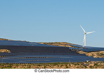 Power Plant Renewable Energy Wind Turbines and Solar Panels