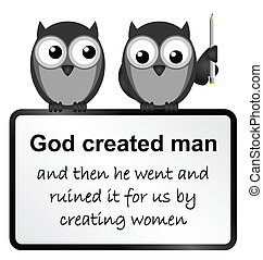 Mankind - Monochrome comical god created man sign isolated...