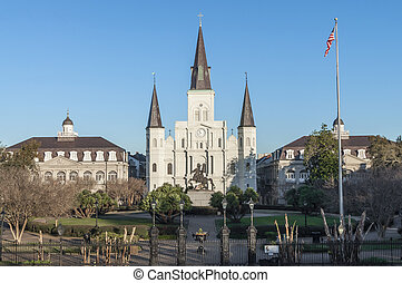 Saint Louis Cathedral and Jackson Square in French Quarter...