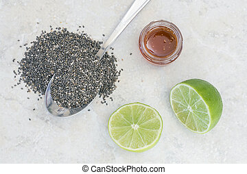 Chia beverage ingredients - Chia seed, honey, limes,...