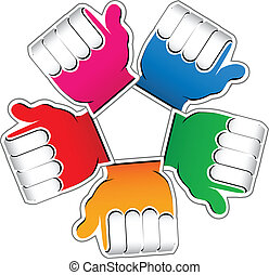 Teamwork charity colored hands logo