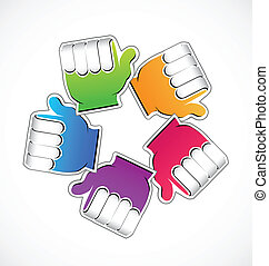 Teamwork rainbow hands vector icon