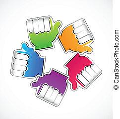 Teamwork rainbow hands vector icon