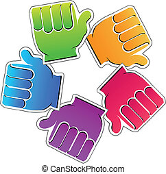 Teamwork friendly hands vector icon