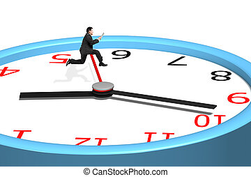 Man jumping over clock pointer in white background