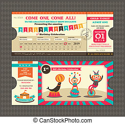 Birthday card Ticket style - Birthday card with Circus...