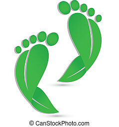 Footprint leafs - Foot podiatry icon vector background