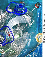 recycling material - plastic empty bottles in the bag for...