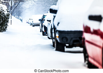 Parked Cars on a Snowstorm Winter Day - Parked Cars in the...