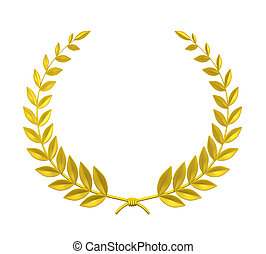 Laurel Wreath isolated on white background. 3D render