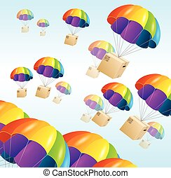 Parachute background. Air shipping concept