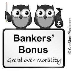 Bankers bonuses - Monochrome banker bonuses with UK currency...