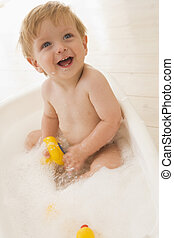 Baby in bubble bath