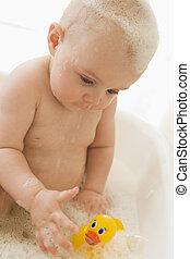 Baby in bubble bath
