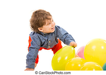 Laughing toddler looking away - Laughing toddler with...