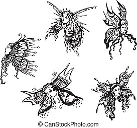 Fantasy butterfly girls. Set of black and white vector...