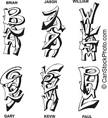 stylized male names - Stylized male names as monograms Set...