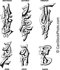 stylized male names - Stylized male names as monograms Set...