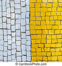 Vintage background from old mosaic of pieces of ceramic...