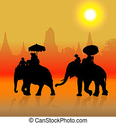 Elephant Tourist in ayuttaya, thailand - Elephant Tourist at...