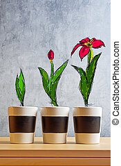 Flower Growth stages sketch on Empty flower pots