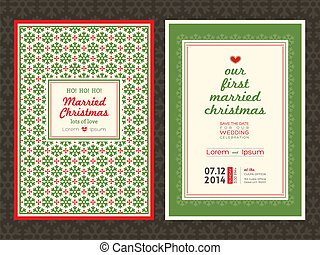 Christmas wedding invitation card template