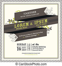 Vintage Ribbon banner Wedding invitation frame template