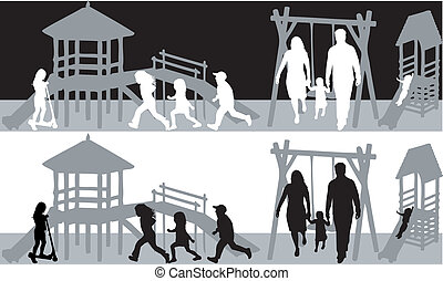 family-fun black and white illustration
