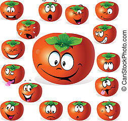 persimmon fruit cartoon with many expressions isolated on...