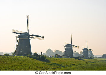 Three watermills after sunrise view from polder