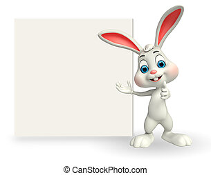 Cute Easter Bunny with sign - 3d rendered illustration of...